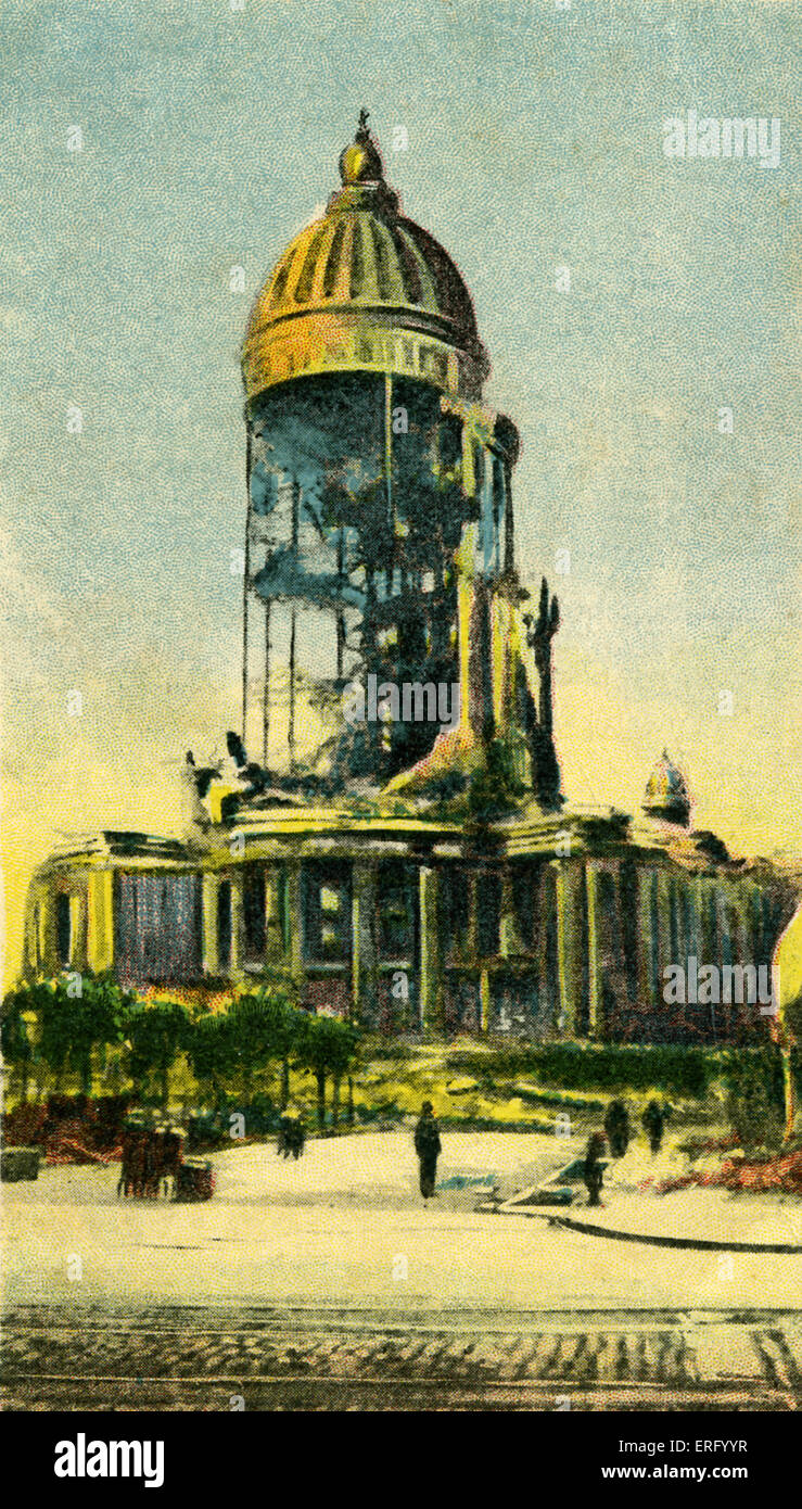 San Francisco shattered City Hall, California after earthquake of 18 April 1906.   Postcard published 1906 by American - Stock Image