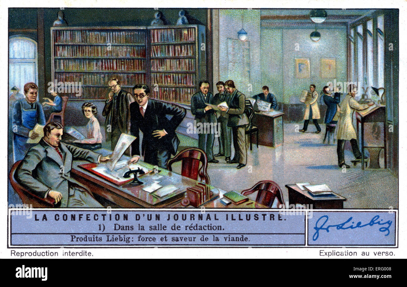 Editorial department of an illustrated French magazine c. 1934. (Liebig series: La confection d'un journal illustré - Stock Image