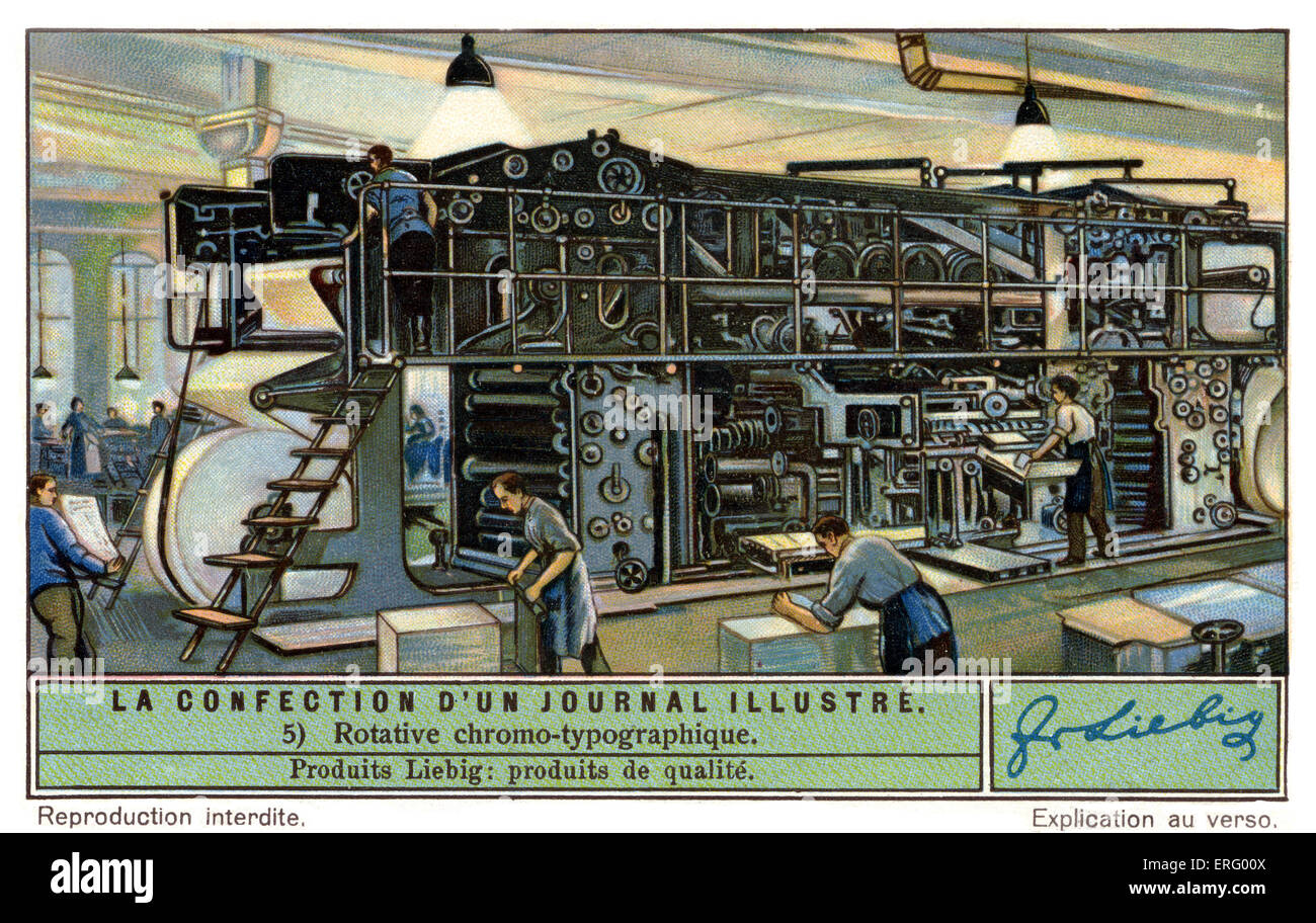 Colour rotary printing press for a French illustrated magazine,  c 1934. (Liebig series: La Confection d'un - Stock Image