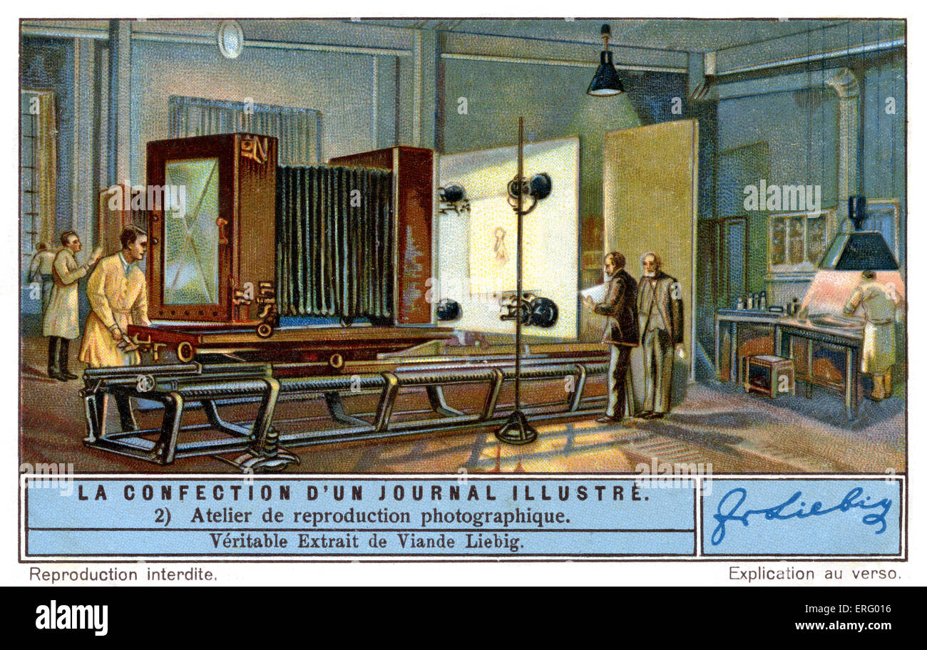 The studio for photographic reproduction where the photographic illustrations and covers were produced, c 1934. - Stock Image