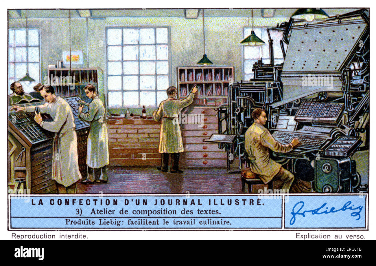 Typesetting room for an illustrated French magazine,  c. 1934.  (Liebig series: La Confection d'un Journal Illustré - Stock Image
