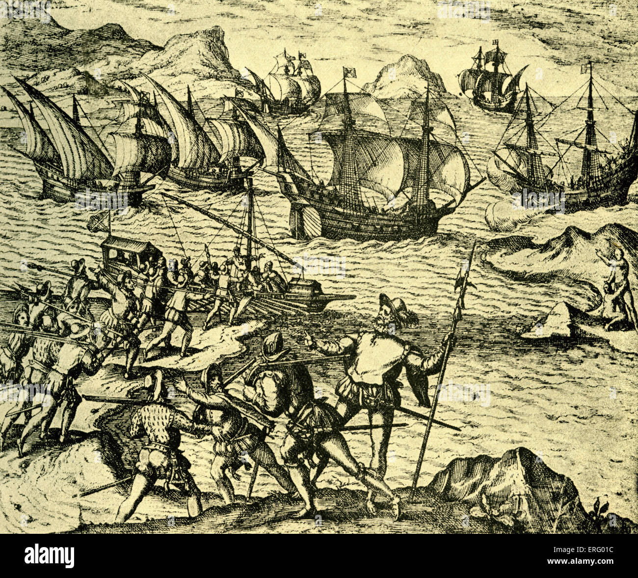 French and Spanish adventurers in the Southern Seas.Late 16th - 17th century sailors, deserters seeking their forturnes - Stock Image