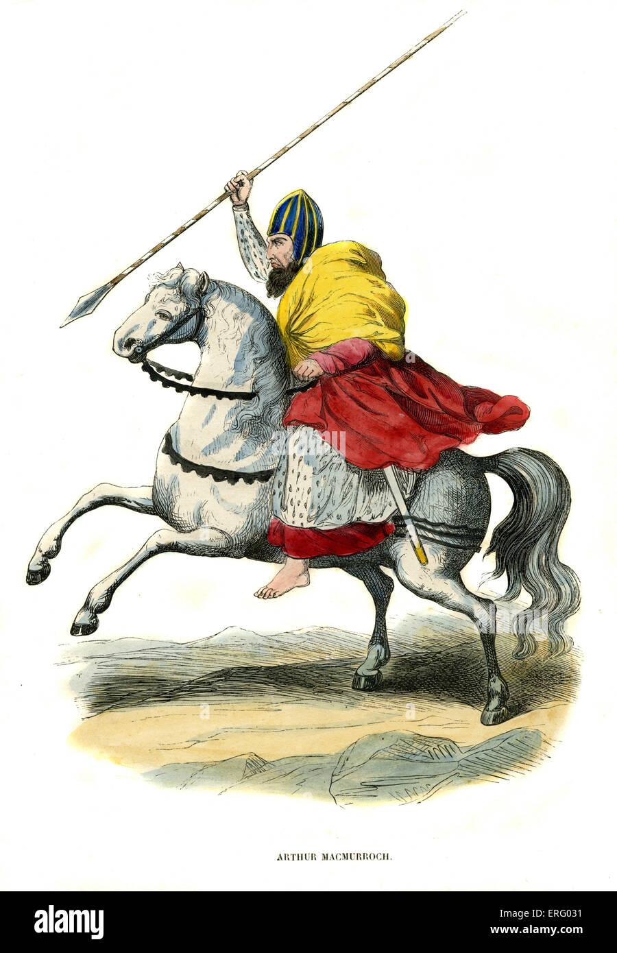 Arthur Macmurrough /  Macmurroch,  King of Leinster Irish Chieftain  riding high on his mighty horse.  Hand coloured - Stock Image