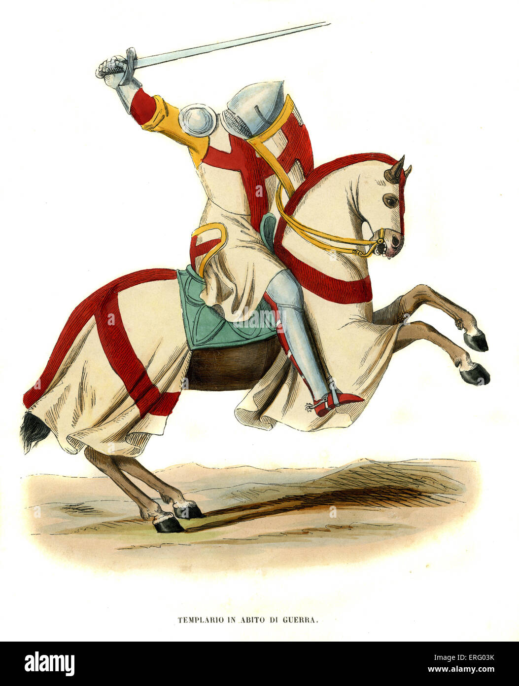 Templar knight on his horse ready for battle. At the time of the Crusades.  Hand coloured engraving-    c. 1847 - Stock Image