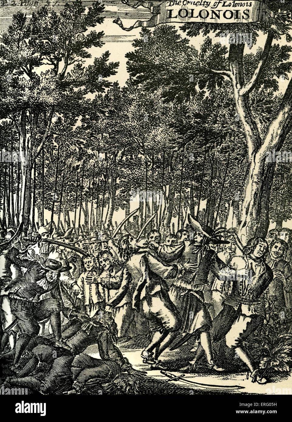 The Cruelty of Lolonois, engraving. (Jean-David Nau, François L'Olonnais, L'Olonnois, Lolona). The French buccaneer, Stock Photo