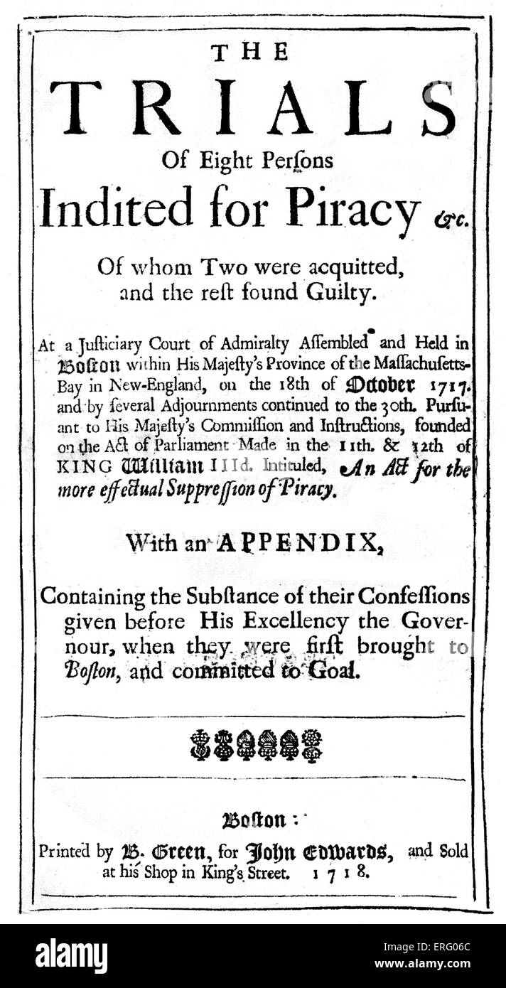 The trial of eight persons for piracy, title-page. Full title reads, 'The Trial of Eight Persons Indited for - Stock Image