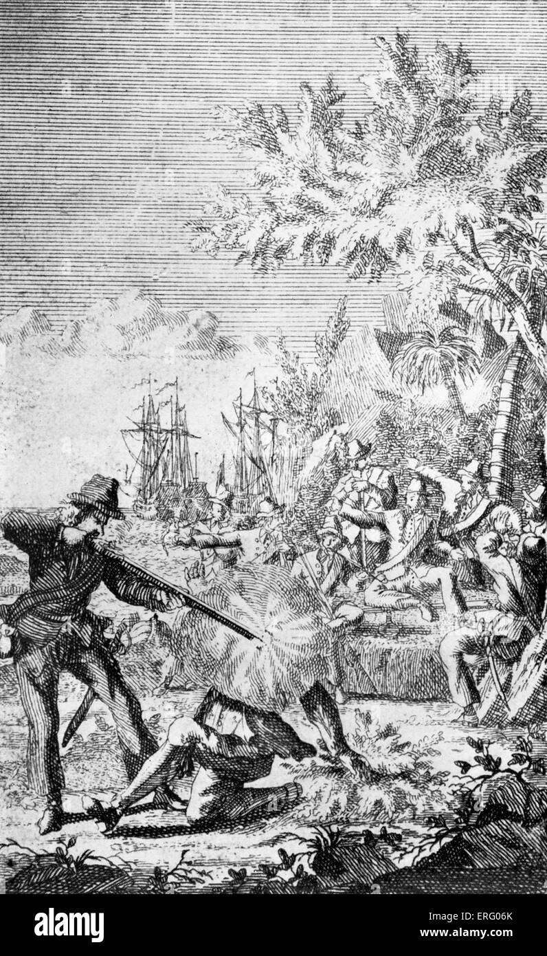 One of Ned Low 's crew killing a wounded Spaniard, engraving. NL: (Edward, Loe, Lowe), English buccaneer active - Stock Image