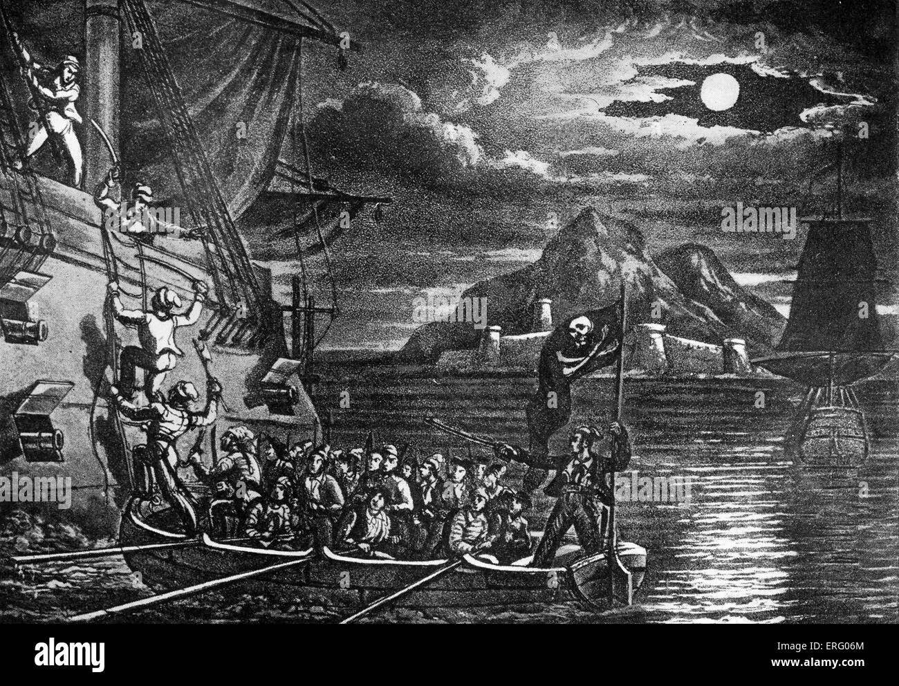 'Pirates Boarding a Spanish Vessel in the West Indies', engraving from 'The History and Lives of the - Stock Image