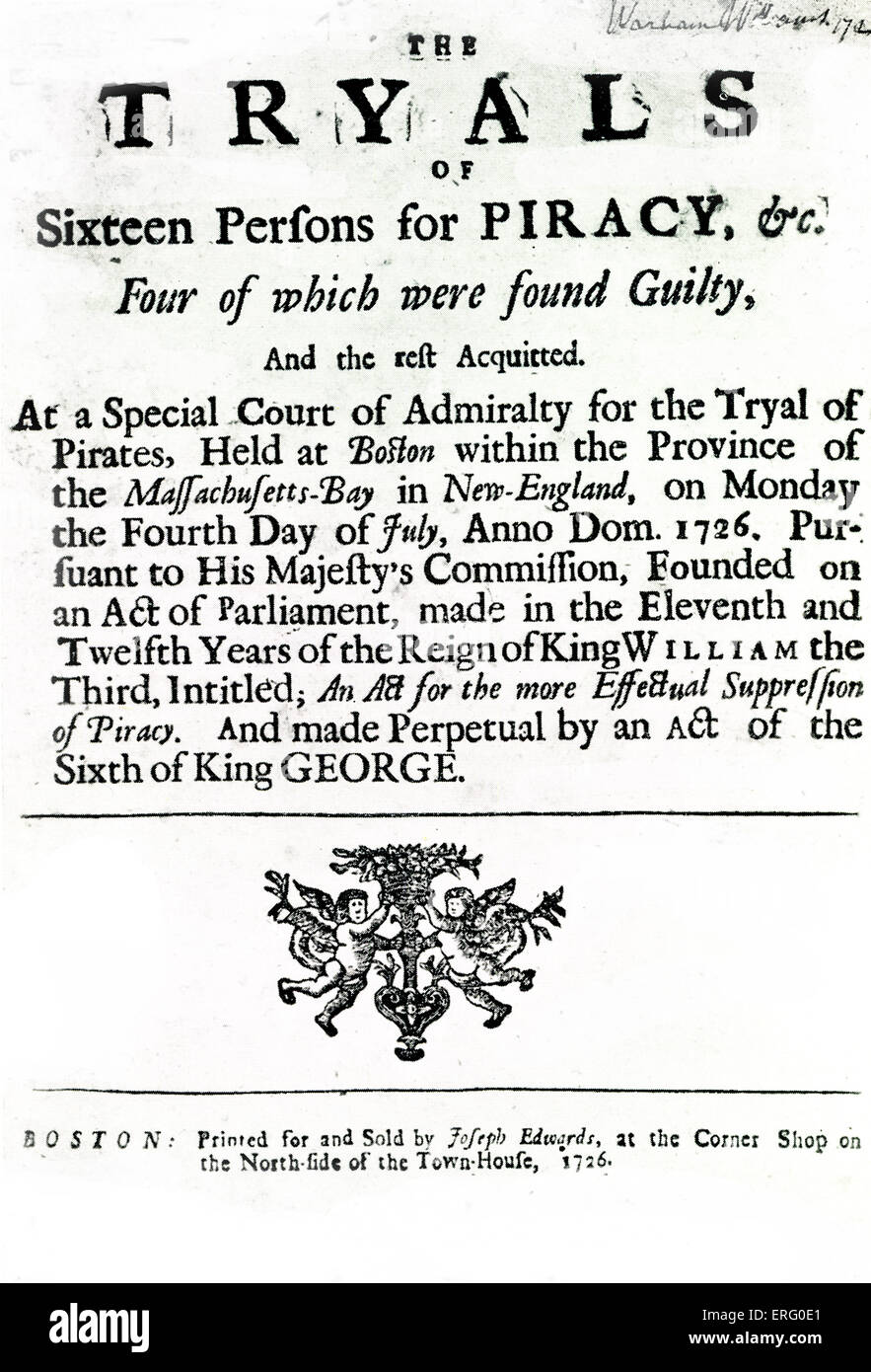 'The Tryals of Sixteen Persons for Piracy', title-page of trial accounts from July 4, 1726, in Boston, Massachusetts. - Stock Image