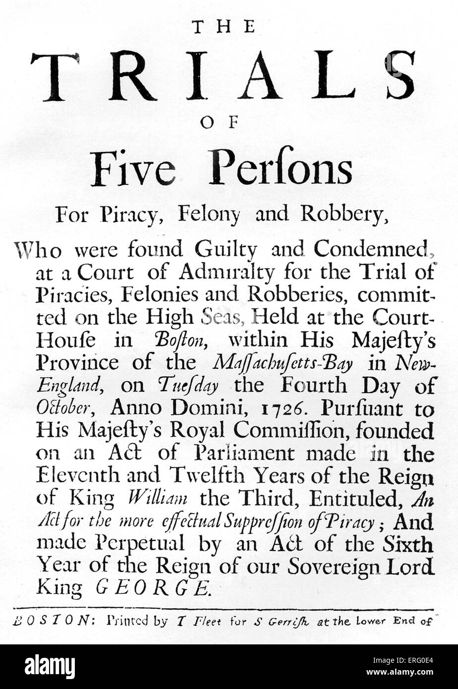 'The Trials of Five Persons for Piracy, Felony and Robbery', title-page of trial accounts held in Boston, - Stock Image