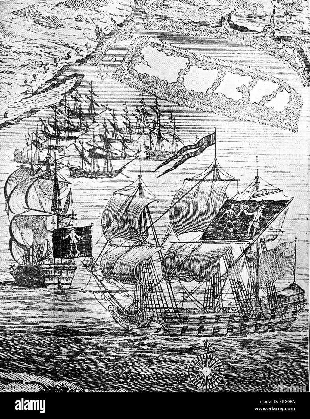 'The Pirate Ships 'Royal Fortune' and 'Ranger' in Whydah Road, January 11, 1722', engraving. - Stock Image