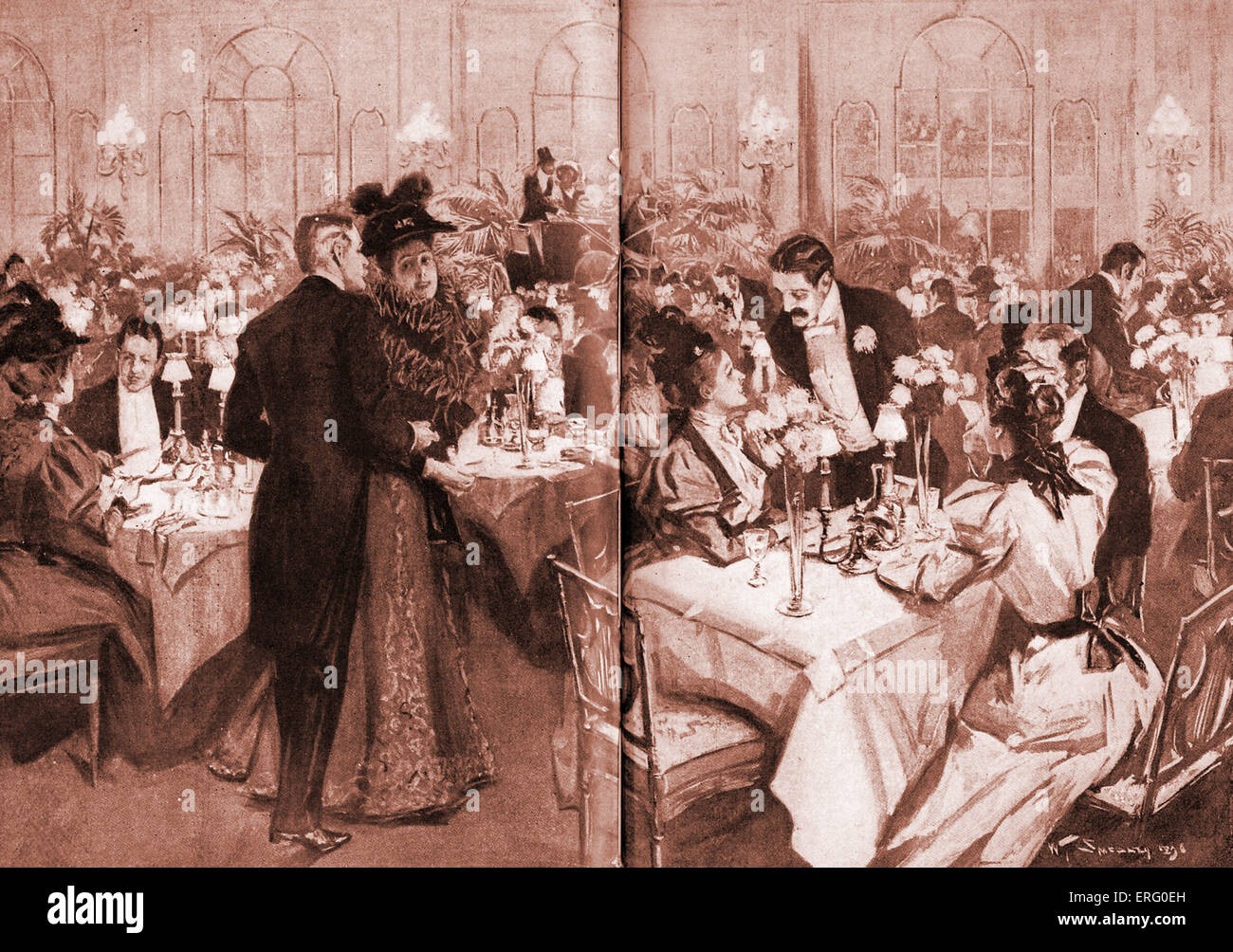 Members of high society at the Waldorf Hotel, 1896. New York. The dining room has been specially decorated for Horse - Stock Image