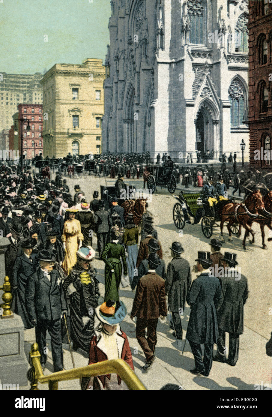 Fifth Avenue, New York, 1890s, near St Patrick's Cathedral- with passers-by strolling down the side walks. Stock Photo