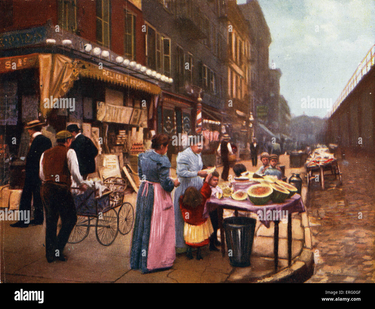 Lower East Side,  New York, 1890s  with passers-by strolling down the streets, shops and barrow stalls outside. - Stock Image