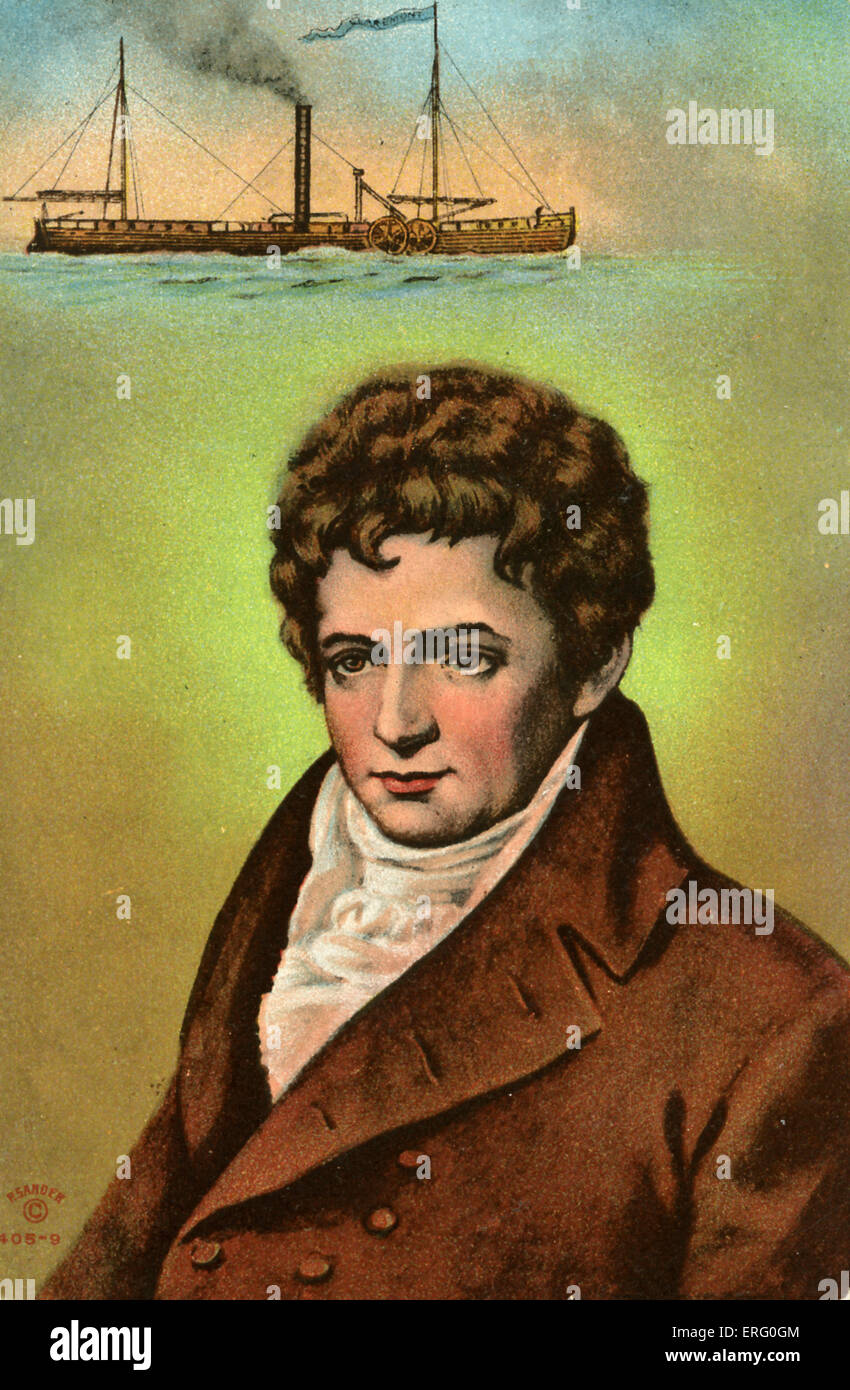 Robert Fulton portrait. Fulton invented the use of ...