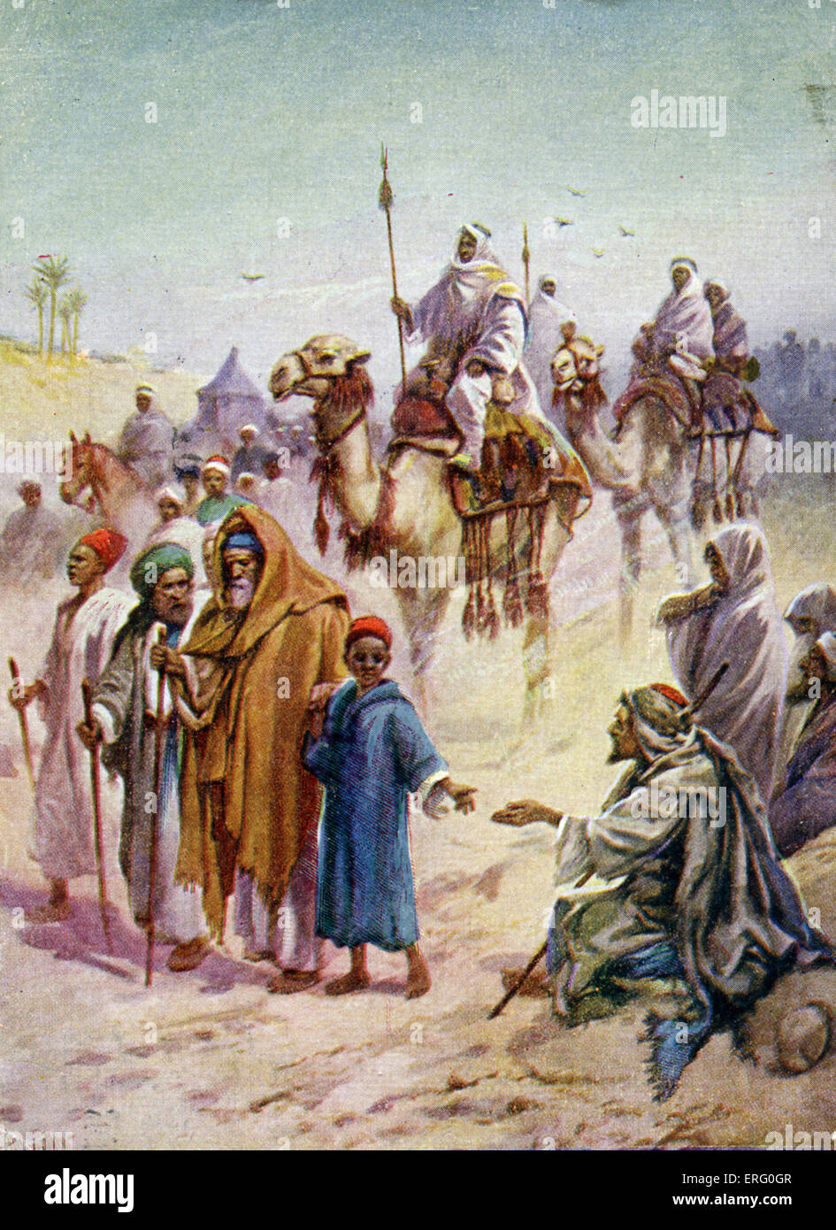 Pilgrimage to Mecca, the Haj. Caption reads: ' On the way to Mecca.' 5th pillar of Islam, meant to be done - Stock Image