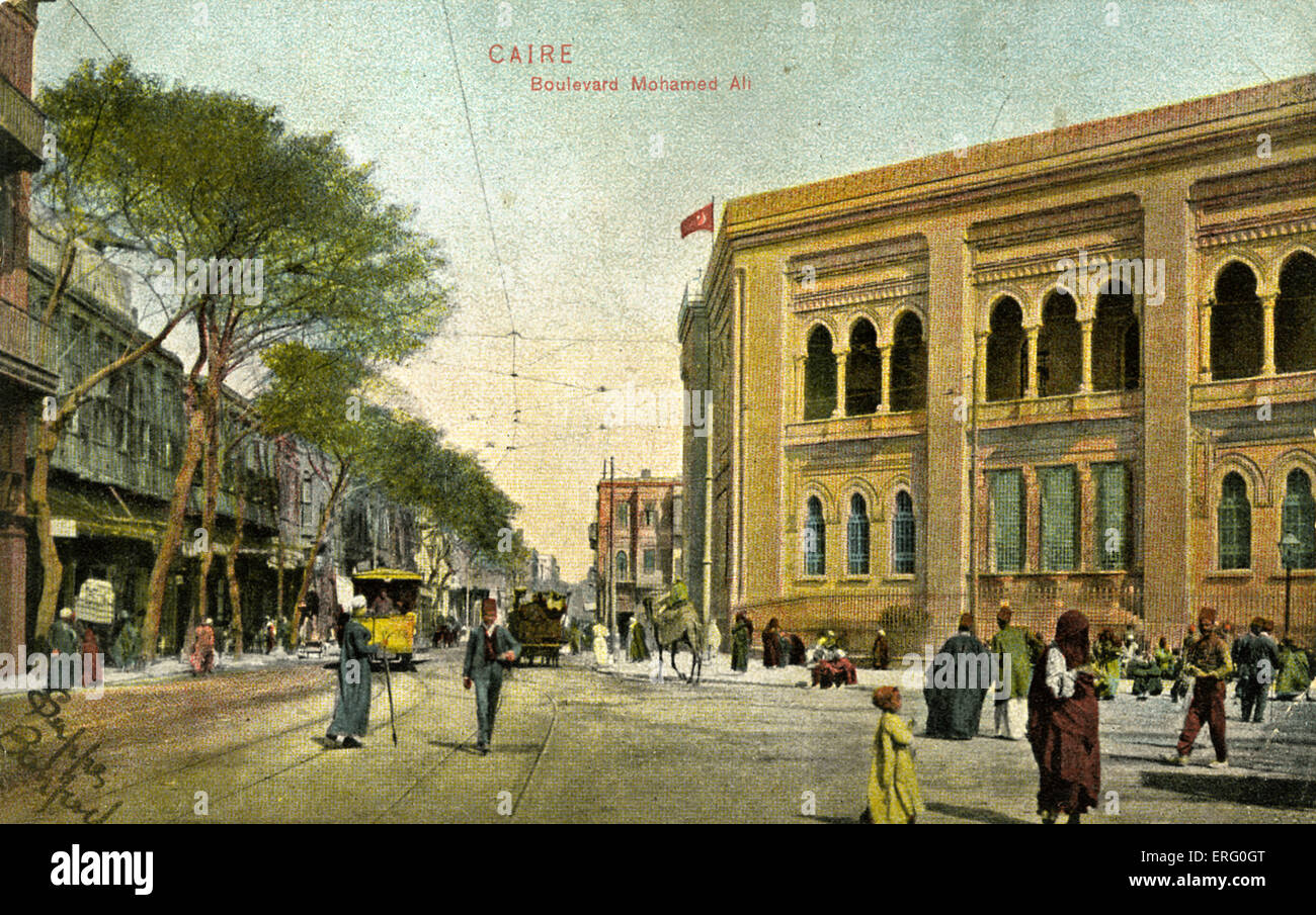 Cairo, Egypt,. Boulevard Mohamed Ali. (historical reference to the previous French administration). Early 20th century - Stock Image