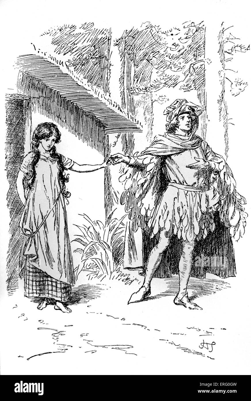 Patient Griselda -The Marquis presents his chosen bride, the poor Griselda, to the people of Saluzzo. Drawing by - Stock Image