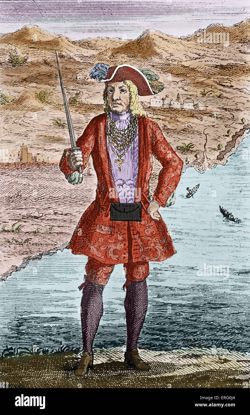 'Captain Bartholomew Roberts', engraving. CBR: Welsh buccaneer known as Black Bart (although not in his - Stock Image