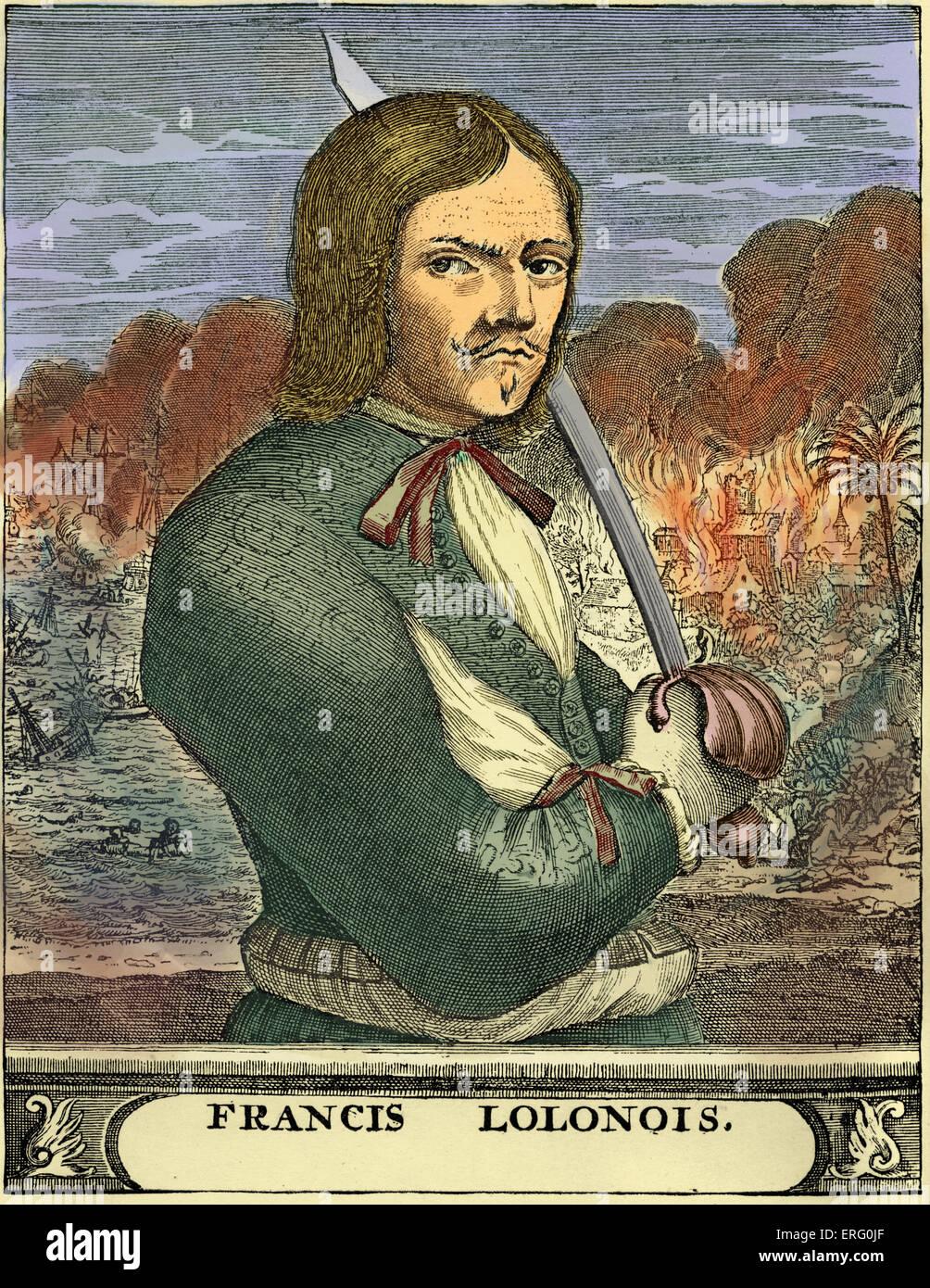 Francis Lolonois, engraving, (Jean-David Nau, François L'Olonnais, L'Olonnois, Lolona). Portrait of the French buccaneer, Stock Photo