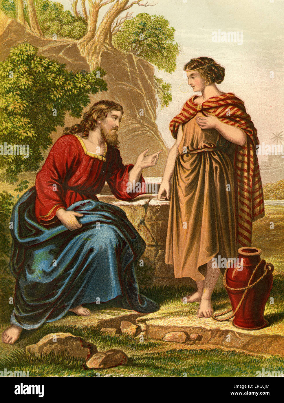 Jesus talks with the Samaritan woman at Jacob 's well in the city of Sychar. John iv 1–4. Nineteenth-century - Stock Image