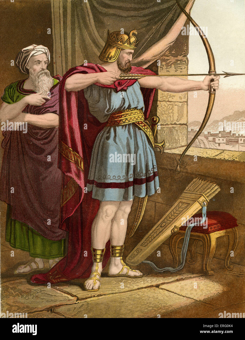 Joash (King of Israel) shooting arrows at the command of the