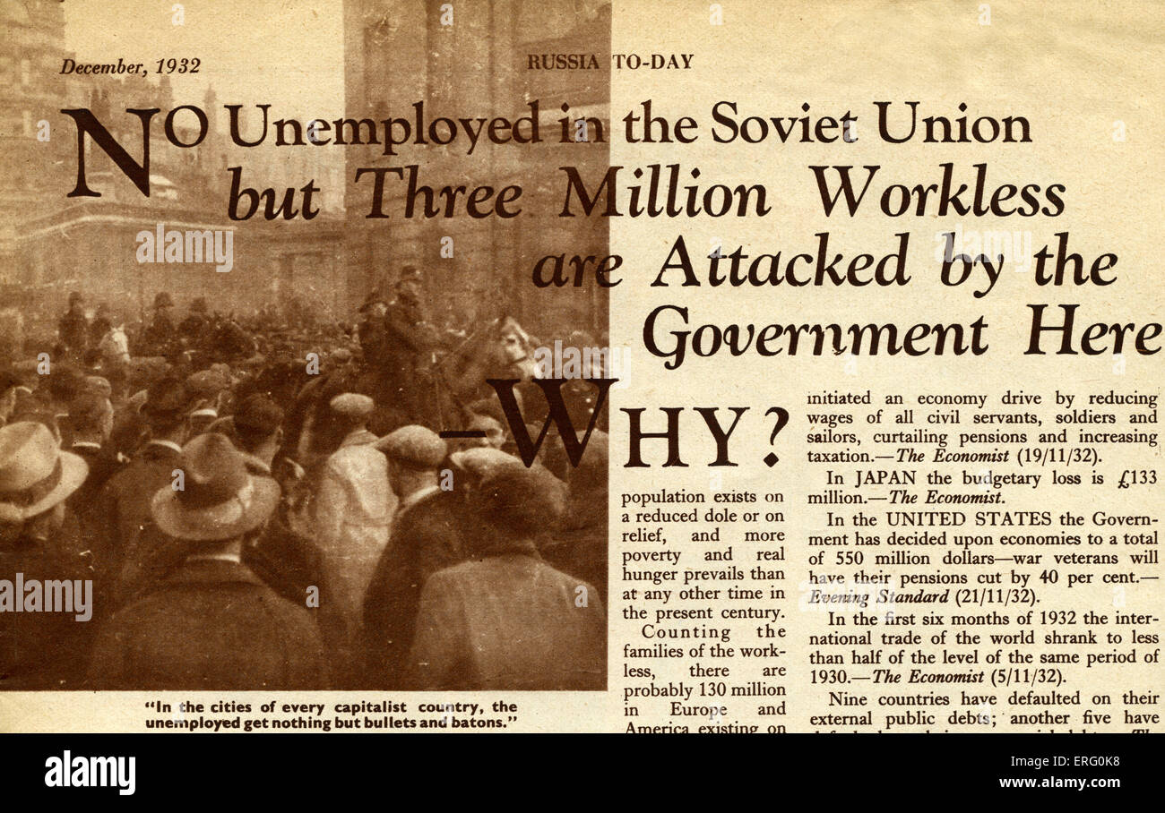 Pro-Soviet thirties propaganda in 'Russia to-day',   December 1932 edition. Caption reads:No unemployed - Stock Image