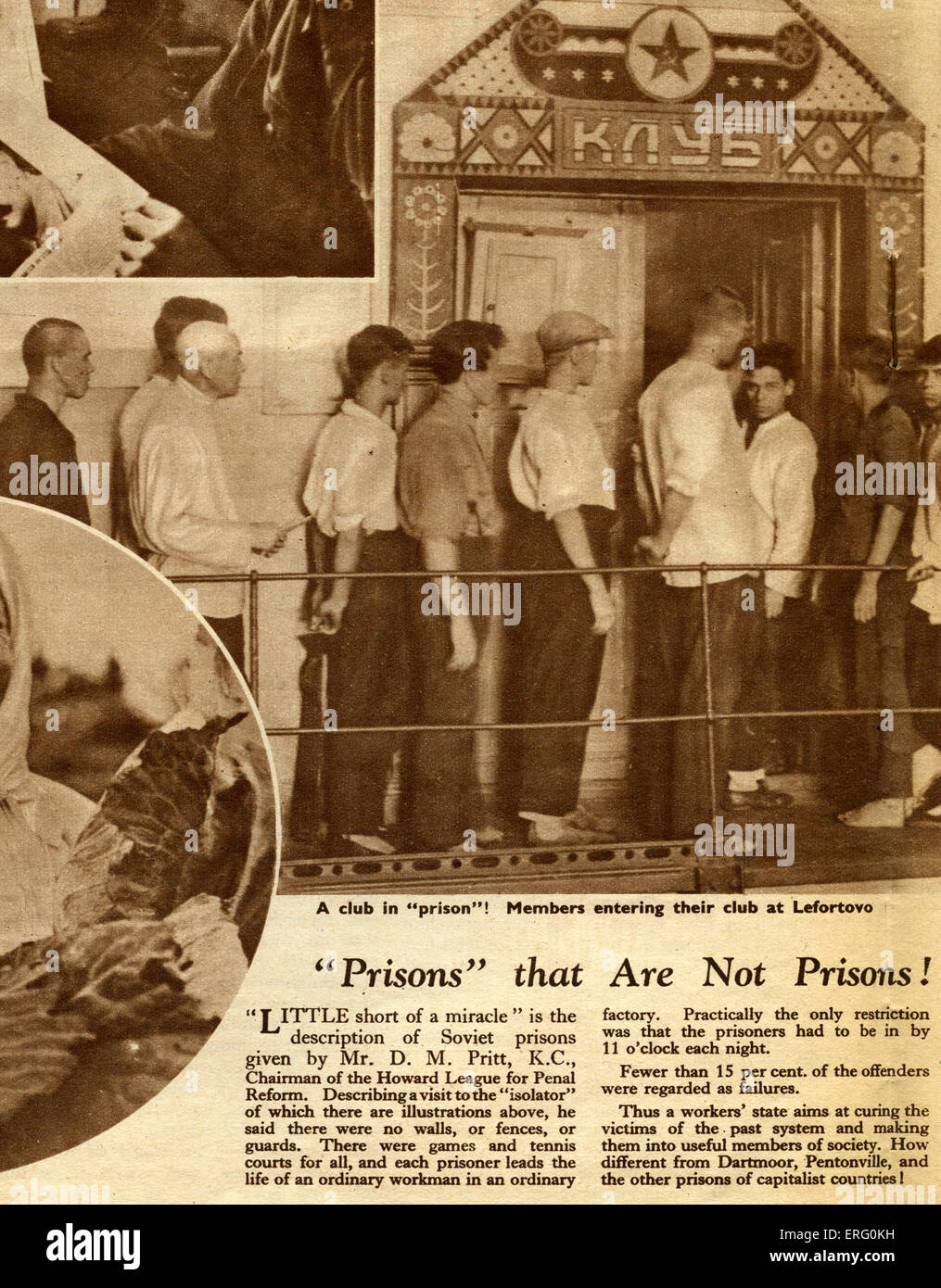 Pro-Soviet thirties propaganda in 'Russia to-day', December 1932 edition. Caption reads:Prisons' that - Stock Image