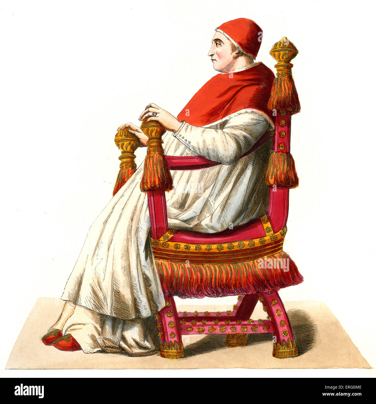Pope Sixtus IV (21 July , 1414 – 12 August 1484), born Francesco della Rovere. Pope from 1471 -1484. 1847 hand-painted - Stock Image