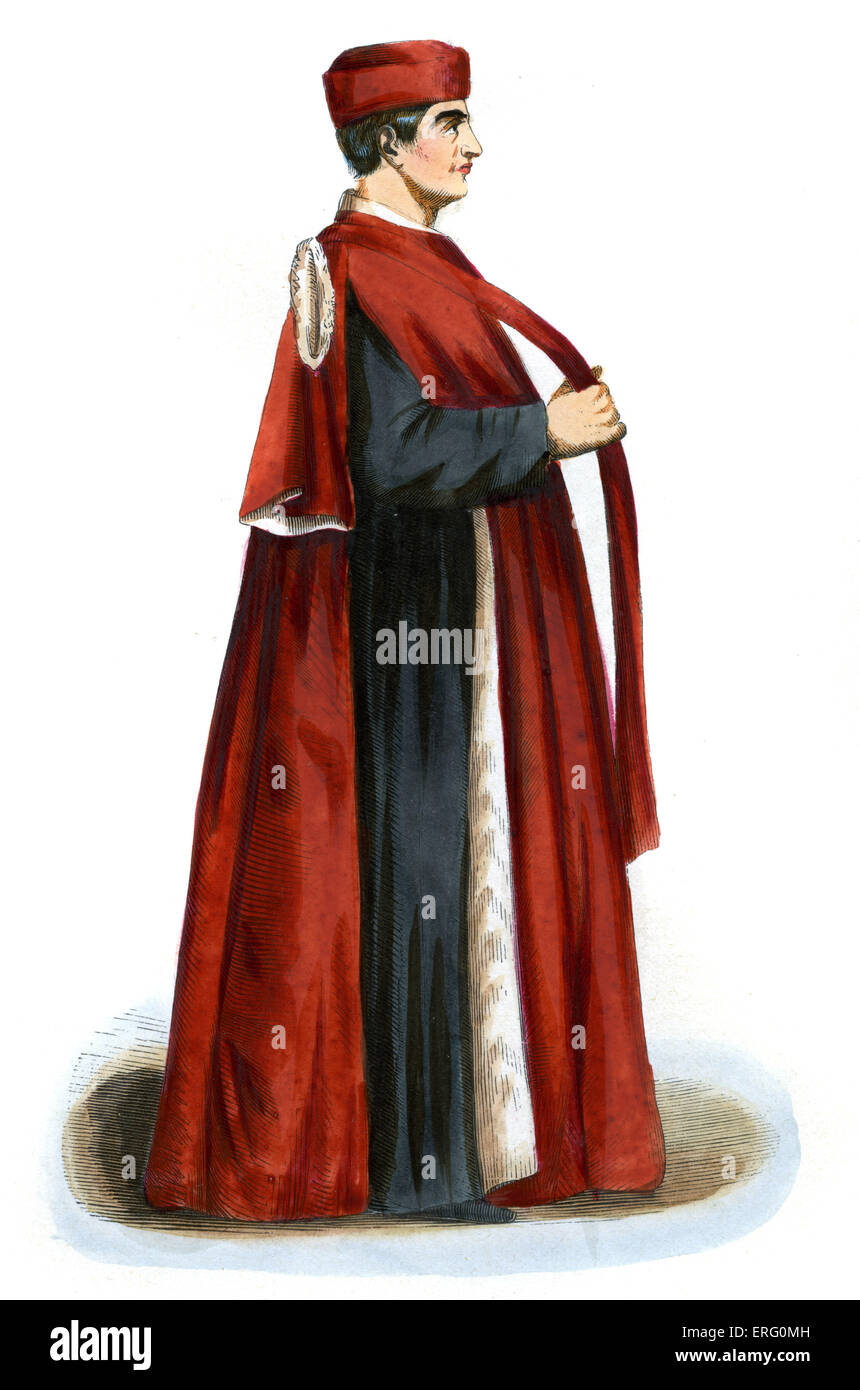 Venetian Senator in 15th century Italy.  Governed the republic of Venice under the preidency of the Doge.  Wears Stock Photo