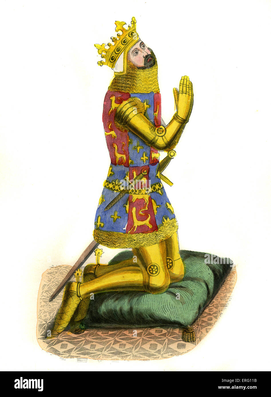 Edward III, King of England. His reign saw rise of England as efficiencet military power and   of development of - Stock Image