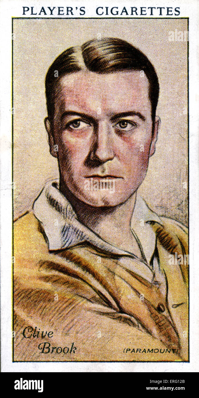 Clive Brook, English actor. 1 June 1887 - 17 November 1974. (Player's cigarette card.) - Stock Image