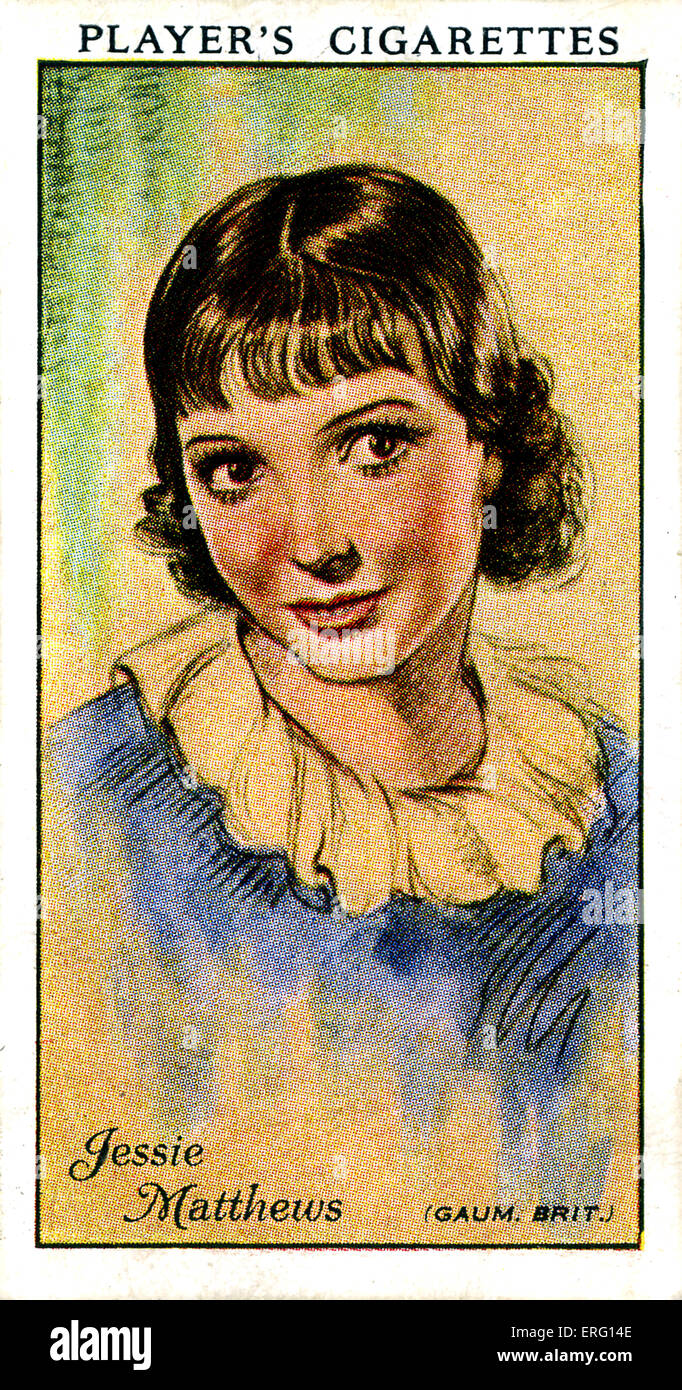 Jessie Matthews, English actress, dancer and singer. 11 March 1907 – 19 August 1981. (Player's cigarette card). - Stock Image