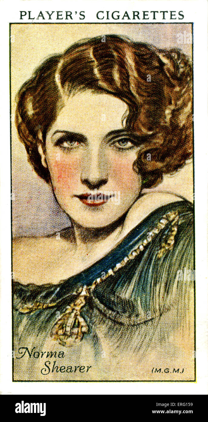 Edith Norma Shearer, Canadian-American actress. 10 August 1902 – 12 June 1983. (Player's cigarette card). - Stock Image