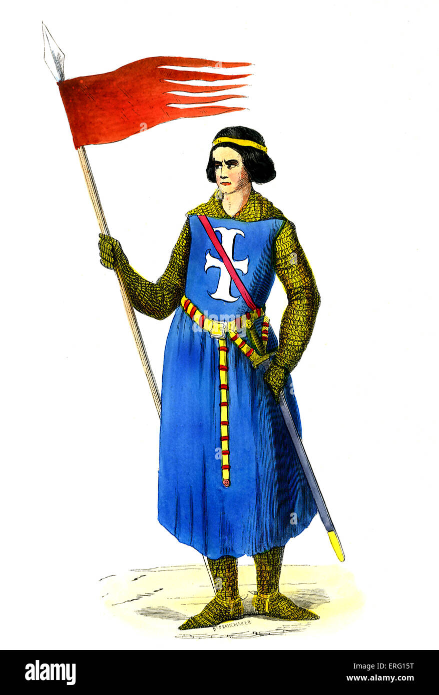 Henri II Clément, Marshall of France, Seigneur of Mez, in late 13 th century, in chainmail costume of the French - Stock Image