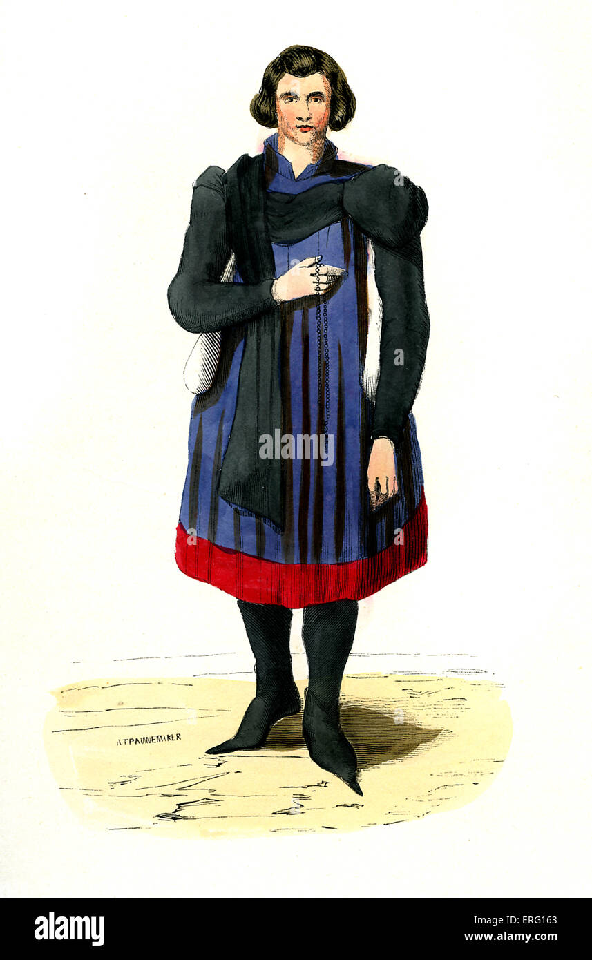 Bourgeois - German male costume from the latter half of 15th century, with leggings, sleeveless tunic and poulaines/ - Stock Image
