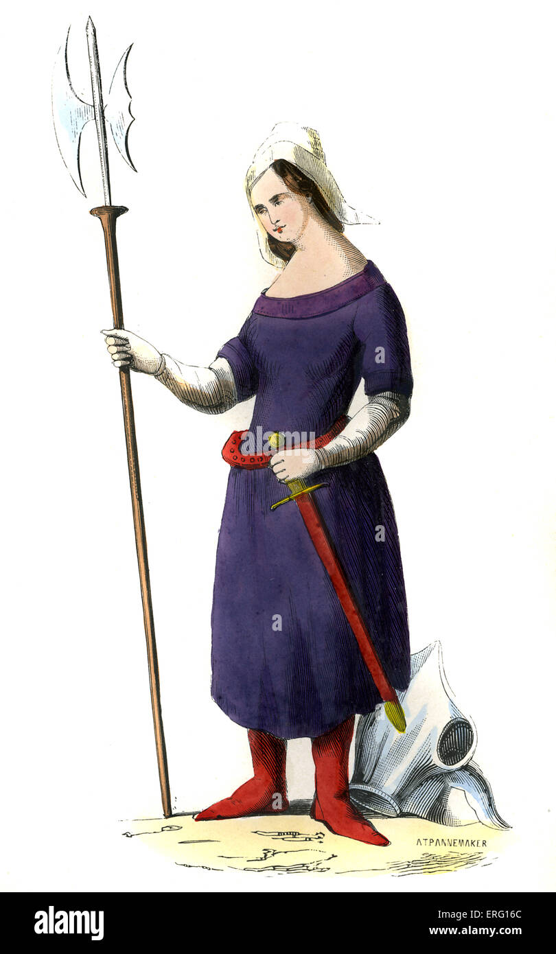 Joan of Arc (Jeanne d'Arc, la Pucelle d'Orléans) in traditional Lorraine country dress with wimple hat, she is holding Stock Photo