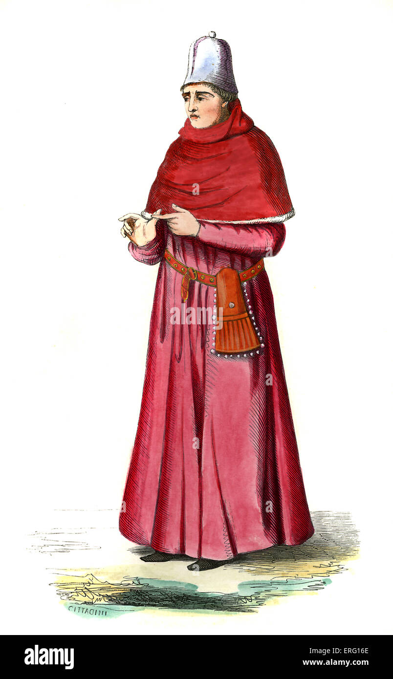 Doctor of the Arts (docteur és-arts) - male costume from the 15th century, wearing crimson robes, a leather - Stock Image