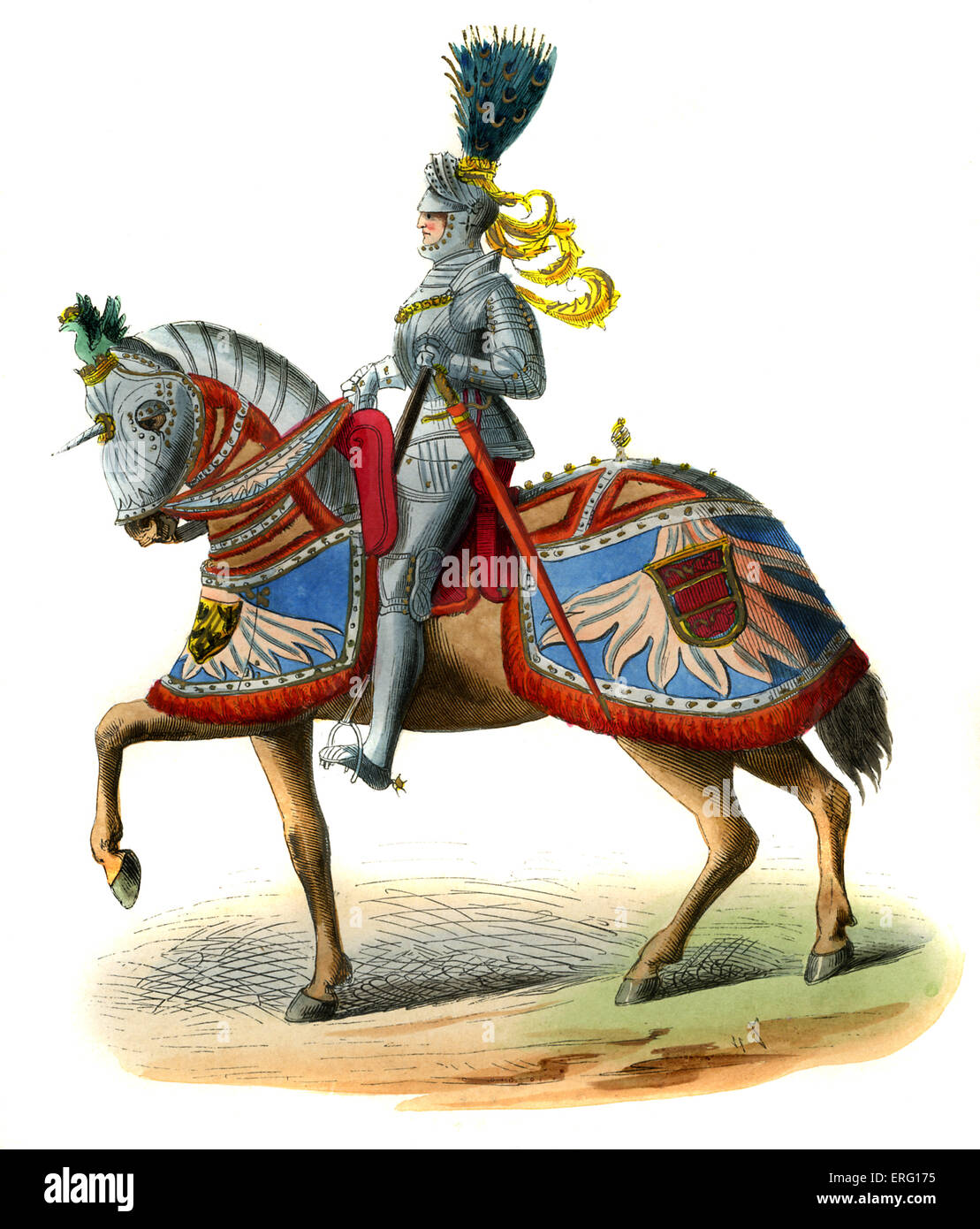 Emperor Maximilian I, of Habsburg, Holy Roman Emperor, shown atop a horse which wears elaborately decorated caparison - Stock Image