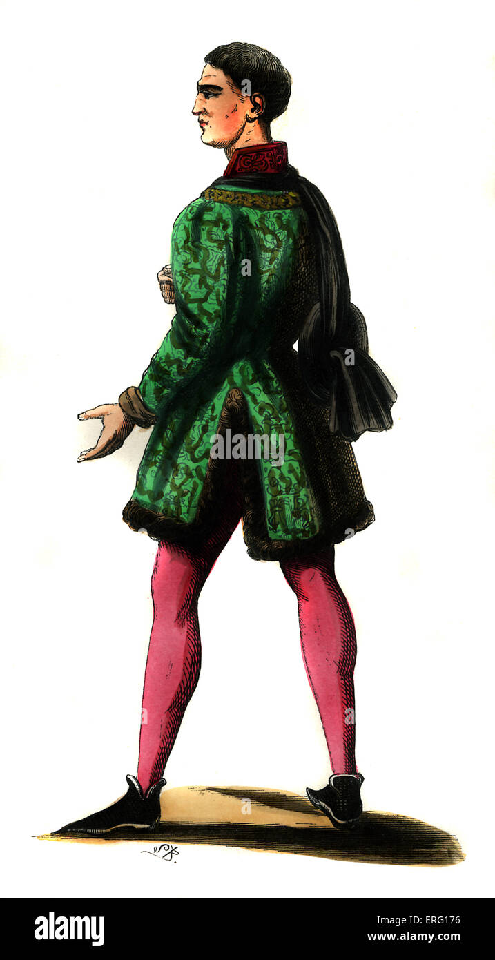 Lord in court of Phillip the Good, (reigned 1419–1467),  shown wearing pink leggings, green fur lined doublet and - Stock Image