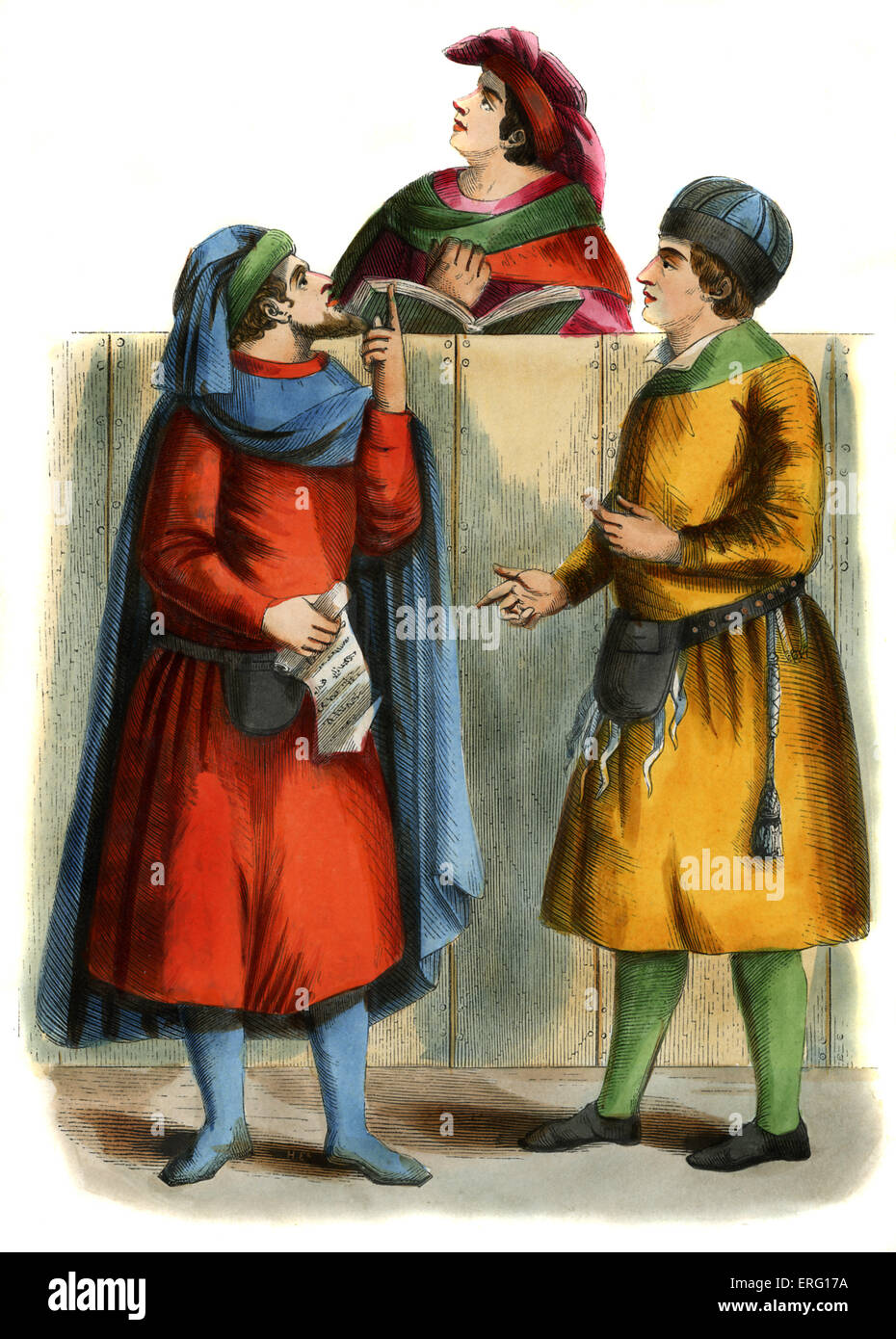 Italian merchants - male costume from 14th century, shown talking to notary, wearing rolled hats, leather money - Stock Image