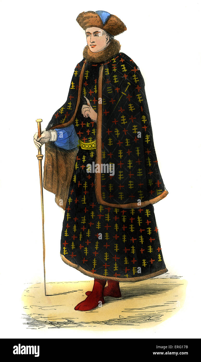 Costume civil - male costume in time of Charles VI (reigned 1380 - 1422), wearing fur hat, collar and fur-lined - Stock Image