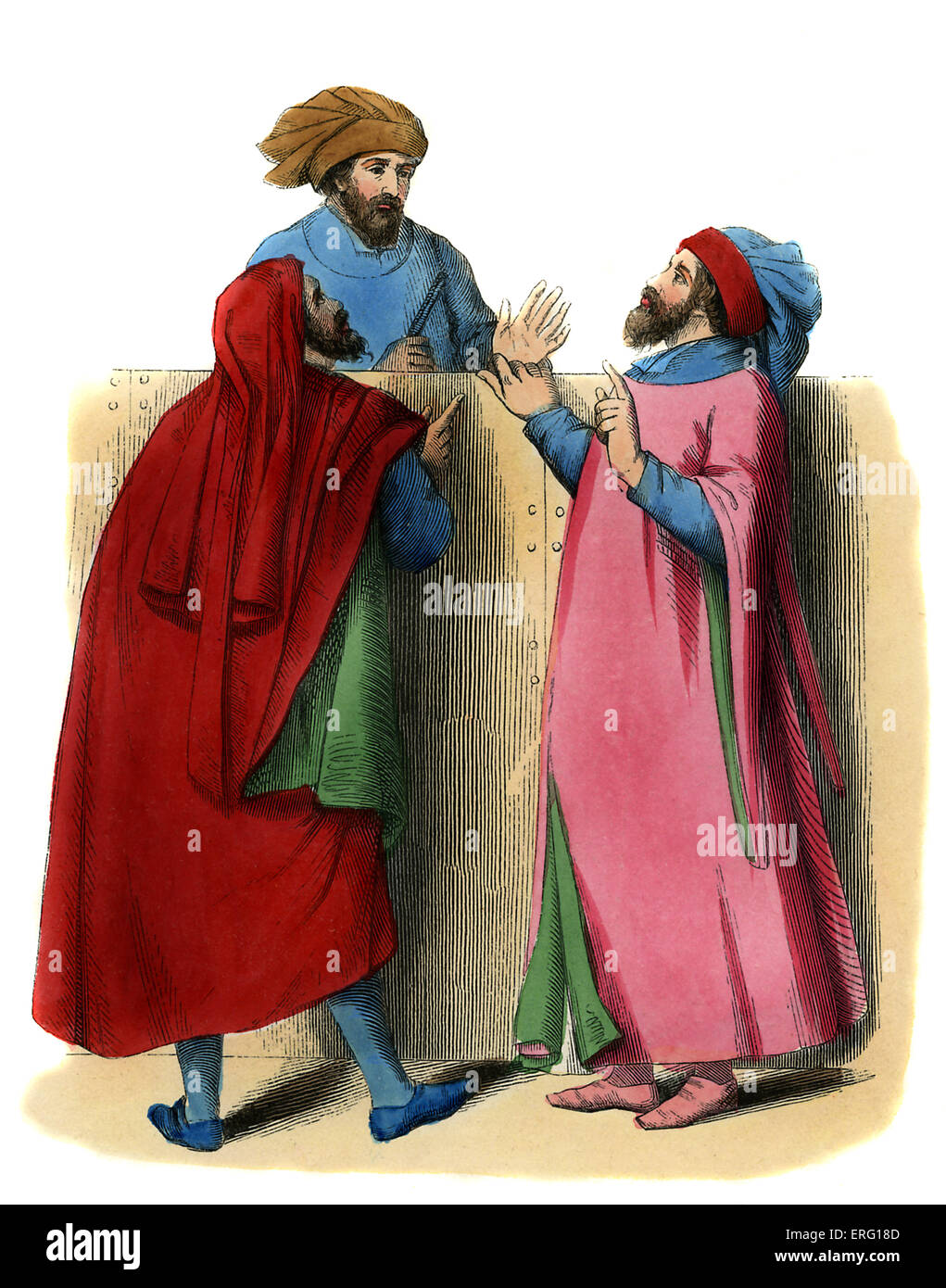 Italian artisans - male costume of 14th century. Shows two artisans talking to a notary. One is wearing scarlet - Stock Image
