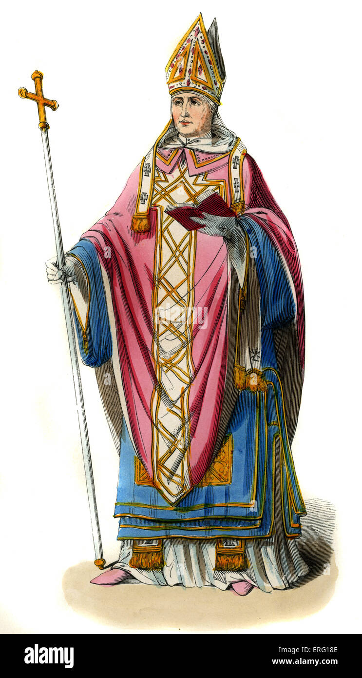Archbishop  - 14th century costume. Wearing ceremonial robes of blue linen, pink 'dalmatique' (cross-shaped - Stock Image