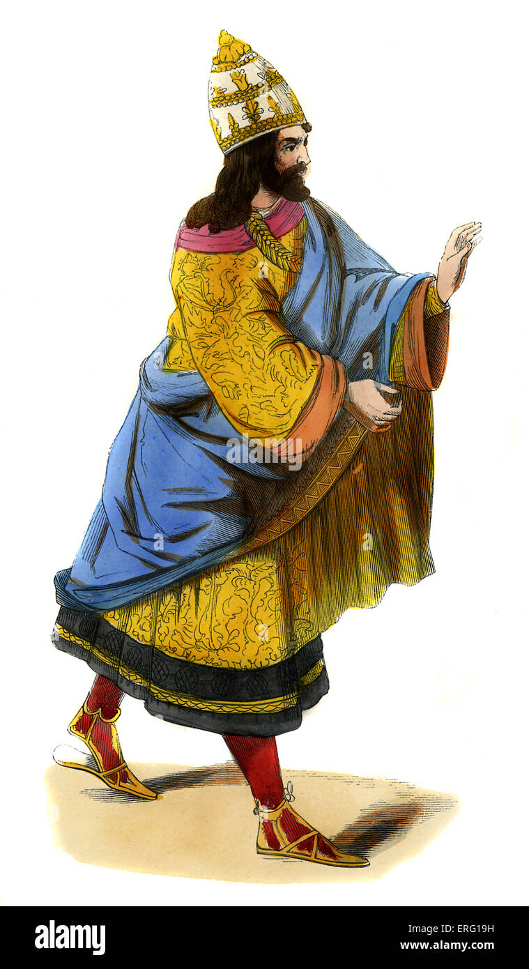Frederick III, Holy Roman Emperor and German King (1415 -1493). Wearing embroidered yellow houppelande, blue draped - Stock Image