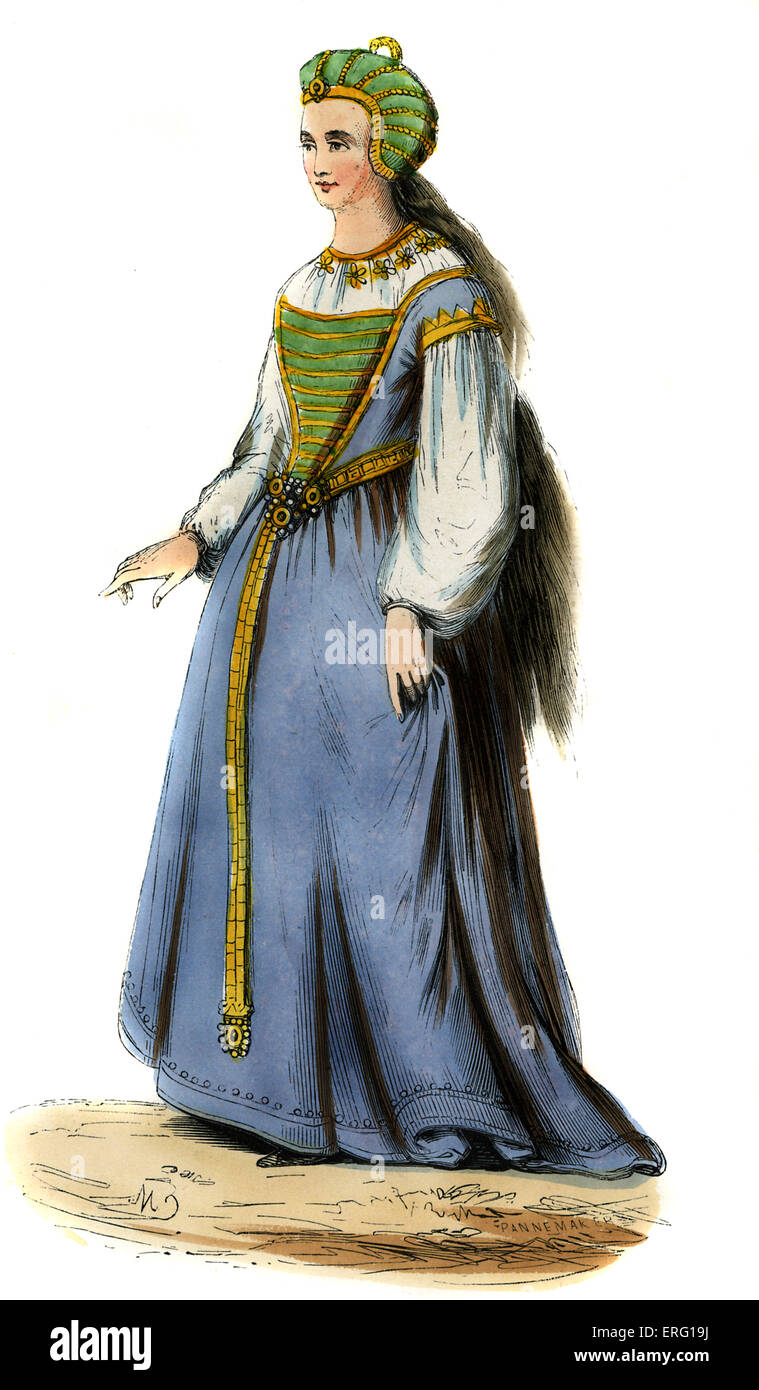 English Lady - costume of late 15th century. Wearing light blue dress,with full sleeves green and gold bodice and - Stock Image