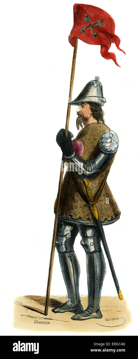 Venetian soldier - costume from 14th century. Wearing an embroidered brown surcoat over full armour with chainmail, - Stock Image