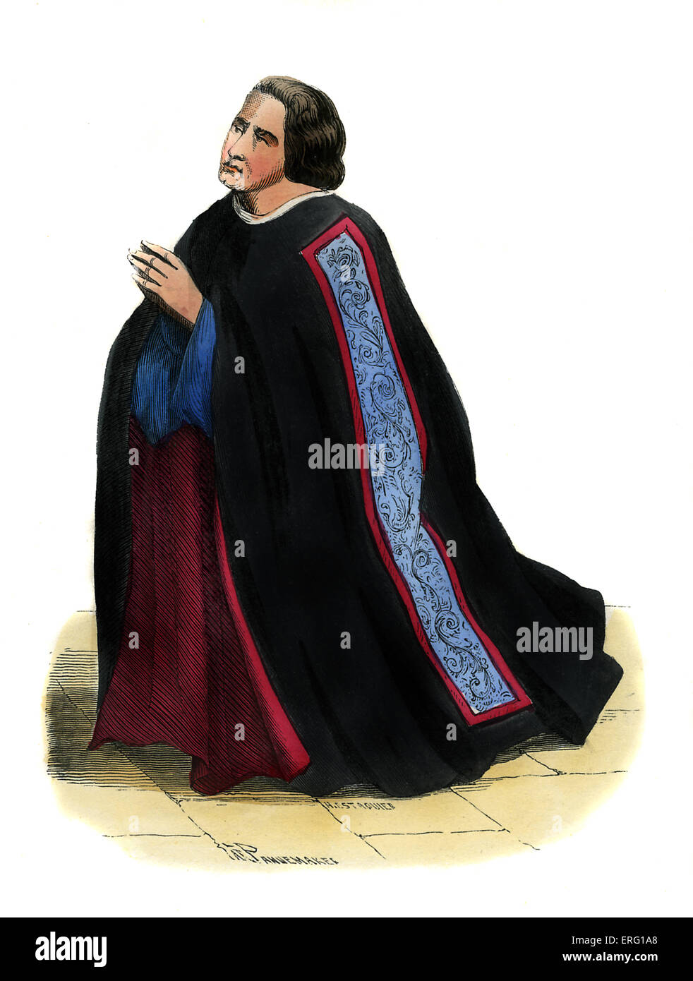 French dean (doyen) of merchant corporation - costume from 15th century. Shown in kneeling position, wearing black - Stock Image