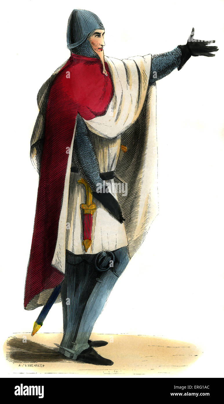 Military costume, Knight - 14th century. Wearing red cloak ...