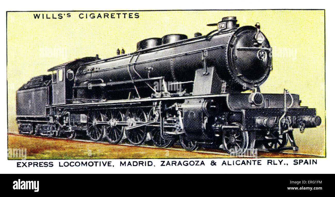 Spanish Express Locomotive. Two-cylinder 4-8-2 'Moutain Type' engine. Operated on the Madrid, Zaragoza and - Stock Image